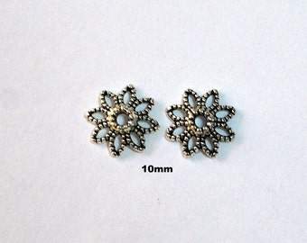 20 Antique Silver Bead Caps 10mm Dotted Flower 8 Petal Open Design