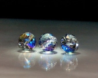 4 pcs 12x9mm Transparent Clear w/Peacock Rainbow Highlights Multi-Color Multi-Faceted Rondelle Crystal Beads TCP