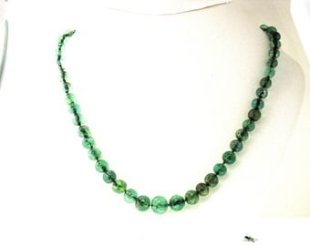 GRADUATED EMERALD BEADS 3mm to 7mm with Platinum Diamond Clasp