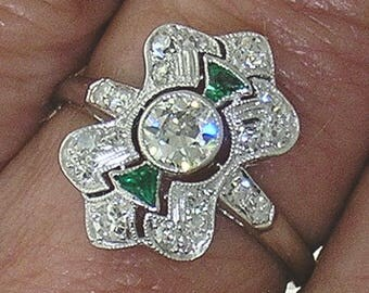 ANTIQUE DIAMOND Ring-Art Deco-Circa 1910 with Emerald Accents, All Authentic