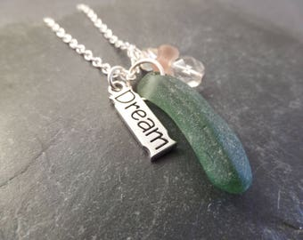 Green Scottish Sea Glass Necklace with Stamped Dream Charm and Green Pink and Silver