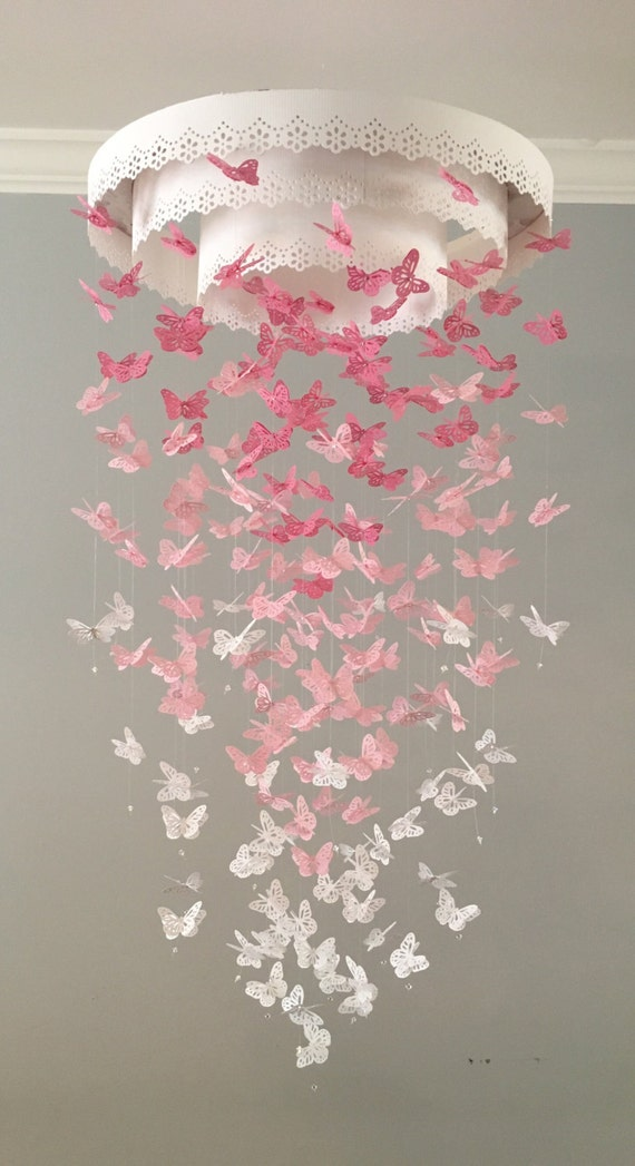 Paper Lace Chandelier Monarch Butterfly Mobile - pink - Made to order, nursery mobile, baby mobile, mobile, photo prop