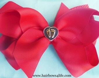 Precious Life Twisted Boutique Bow on Burlap Bow