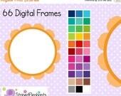 40% OFF SALE Flower Digital Frames 2 - Clipart Frames - Instant Download - Commercial Use
