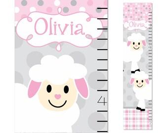 Personalized Lamb Growth Chart Nursery Decor Children Canvas Ruler Kids Chart