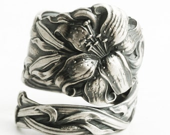 "Stargazer Lily Spoon Ring, Lovely Frontenac Sterling Silver Ring, Stargazing Lily, Engraved ""M"", Handmade Gift, Adjustable Ring Size (6445)"
