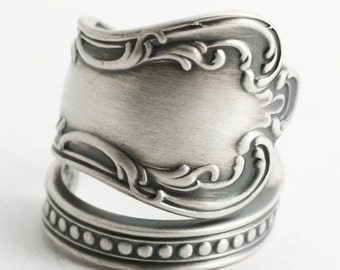 Milgrain Victorian Ring, Sterling Silver Spoon Ring, Handmade Silver Gift for Her, Antique Wendell ca 1900, Wrap Adjustable Ring Size (6600)