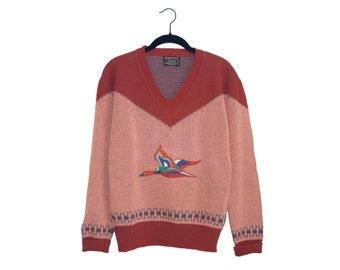 Vintage Duck Embroidered Ésprit by Campus 100% Virgin Orlon Acrylic V-Neck Sweater