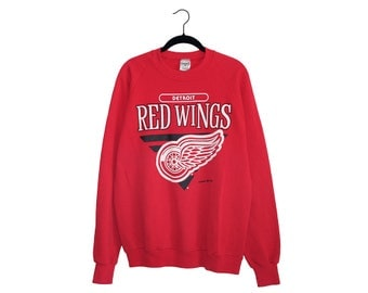 Vintage Detroit Red Wings Simple Block Letter Bright Red Crewneck Sweatshirt, Made in USA - XL