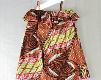 Off shoulder frill dress in African Print