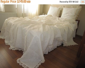 clearance sale Linen bed cover coverlet Solid Ivory cream cotton tulle lace Queen King bedspread,summer blanket shabby chic ruffled bedding