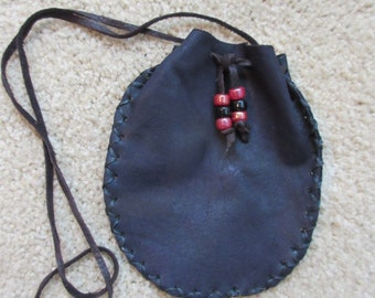 Black Leather Pouch, Deerskin Pouch, Native American, Cherokee Necklace, Dance Regalia, Medicine Pouch, Crow Beads, Tribal Necklace #P29