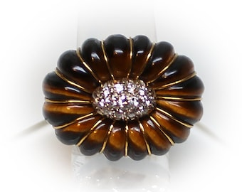 18K Gold Sun Flower Dinner Ring composed of Tiger Eye Petals and Diamond Seeds