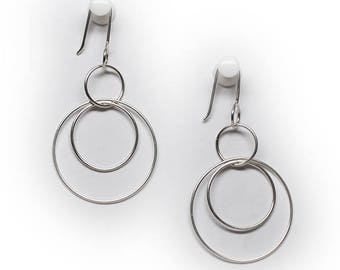 Sterling Silver Abstract Wire Circle Dangle Drop Earrings