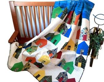 Houses Art Quilt - Village Fabric Wall Hanging - Modern Suburbs Lap Quilt - Quilted Sofa Throw - Dorm Quilt - Fiber Art - Handmade For Sale