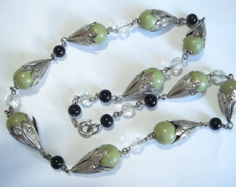 Art Deco Necklace  Green and Black Beads with Decorative Caps 1920's 1930's