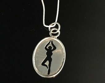Yoga Tree Pose Sterling Silver Necklace Handmade