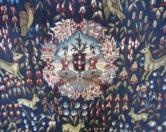 French Tapestry Mille Fleurs Armoiree Hand Painted From The Original 16th Century