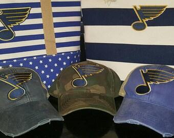 St. Louis Blues Hat - Embroidered STL Blues Trucker Hat, Saint Louis Blues Hat - St. Louis Blues Hockey Trucker Trucker Hat
