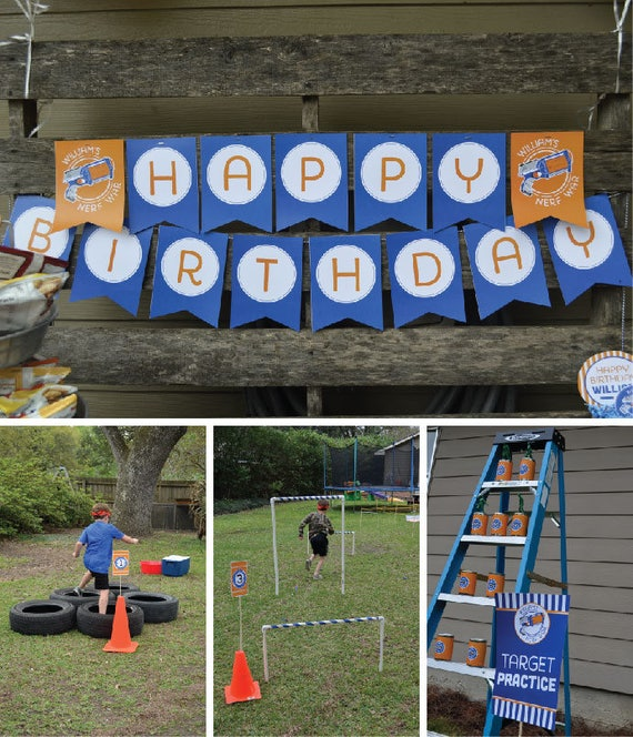 Nerf Banner, Printable Nerf Party Happy Birthday Banner, Nerf Birthday  Party Decorations, Nerf Party Printable, Nerf Gun Party Banner