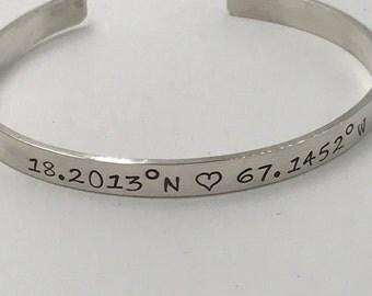 Sterling Silver Personalized Cuff Bracelet | Coordinates | Latitude Longitude | Secret Message | Bridal Jewelry | Reclaimed Metal