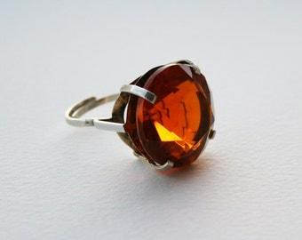 Huge Vintage Sterling Silver Glass Ring