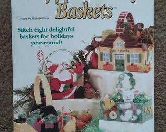 Happy Holidays Baskets, Plastic Canvas, Book, House of White Birches, 8 Designs, OFG