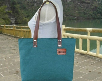 March Sale 10% off Teal green canvas tote bag, leather strap shoulder bag for women with personalized tag.