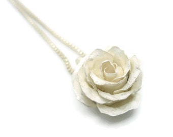 White Rose Pendant in Sterling Silver