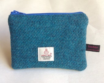 Teal blue Harris Tweed coin purse, zipped coin pouch, change purse, scottish gift, friend gift