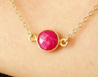 Ruby Necklace Round Red Small Ruby Connector, Faceted Ruby Gemstone Necklace on Gold Filled Chain Simple July Birthstone