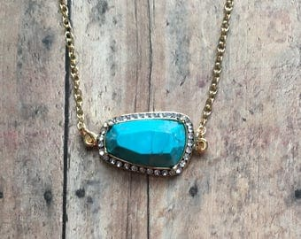 Gorgeous pave turquoise necklace