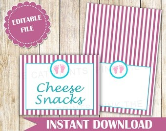 Pink Teal Stripes Wedding Place Card - Pink Buffet Label Printable Food Label Party Label Seating Card Buffet Food Label INSTANT DOWNLOAD