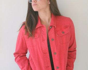 Vintage Red Jean Jacket...grunge. hipster. retro. vintage ralph lauren. coat. hippie. acid wash. 1990s. designer. womens. unisex. designer
