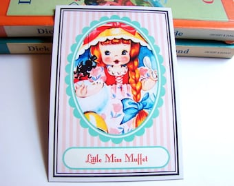 Small Ready to Frame Print * Little Miss Muffet Mother Goose Fairy Tale Nursery Rhyme Girls Kids Room Bedroom Home Decor