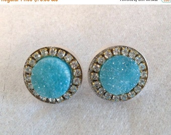 ON SALE Light blue druzy and austrian crystal sterling silver earrings