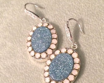 ON SALE Blue Aura druzy and pink opal crystal sterling silver earrings