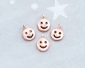 4 of 925 Sterling Silver Rose Gold Vermeil Style Little Smiley Charms 4 mm.  :pg0389