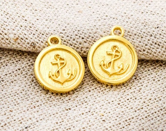 2 of 925 Sterling Silver 24K Gold  Vermeil Style Anchor Printed Disc Charms 10.5 mm. :vm0930