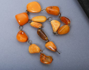 Antique Genuine Natural Baltic Amber beads. connectors with metal loop