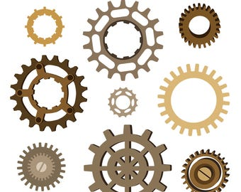 Gear Clipart, Gear Clip Art, Steampunk Clipart, Metal Clipart, Machine Part Clipart, Digital Download
