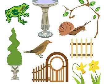 Garden Clipart, Snail Clipart, Daffodil Clipart, PIcket Fence Clipart, Frog Clipart, Bird Clipart, Garden Gate Clipart, Digital Download