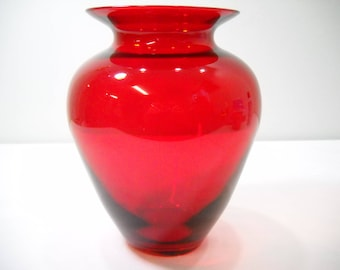 Vintage Large Ruby Red Vase Red Flower Vase