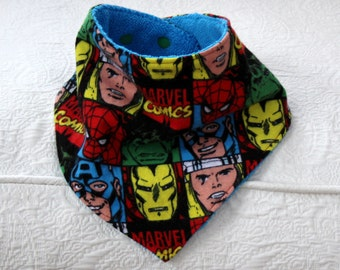 Marvel Baby Boy Bandana Drool Bib with Hulk, Spiderman, Captain America, Iron Man and Thor Flannel and a Terry Lining for Teething Baby Boy