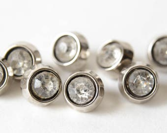 8 Vintage Clear Facetted Glass Silver Bezel Shank Buttons -  1950s - B4