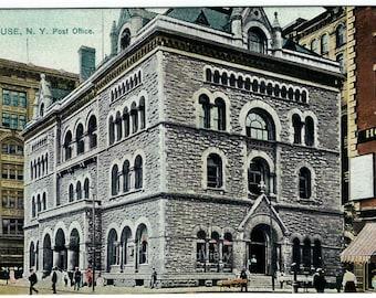 Syracuse N.Y. Post Office Postcard, Raphael Tuck, Antique 1917 Ephemera, Fayette & Warren Streets, FREE SHIPPING