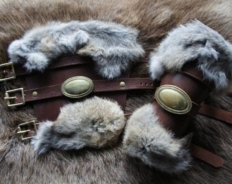 Leather and Rabbit Fur Bracers