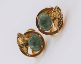 Vintage Signed 12KT GF Gold Filled Jade Semi Precious Gemstone Green Stone Leaf Round Oval Mid Century Traditional Screw On Earrings