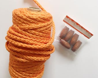 Vintage macrame cord , orange macrame cord,wooden beads, macrame diy, macrame plant hanger supplies