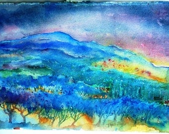 "Tuscany, Italy, Watercolor, Olive Groves  ""Night falls over a Tuscan Landscape"" Original  painting."